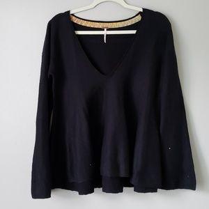 Free People | V-Neck Ruffle Long Sleeve Sweater